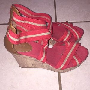 RED & TAN Wedges...